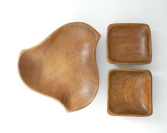 Vintage Monkey Pod Wood Bowl Dish Set - Wooden Bowl Serving Set
