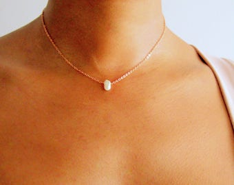 Simple Pearl Choker Necklace, single pearl choker, bridesmaid gifts, delicate gold choker, rose gold choker anniversary gift wedding jewelry