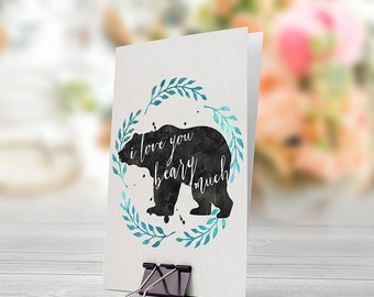 I Love You Beary Much 5x7 inch Folded Greeting Card - GC1012