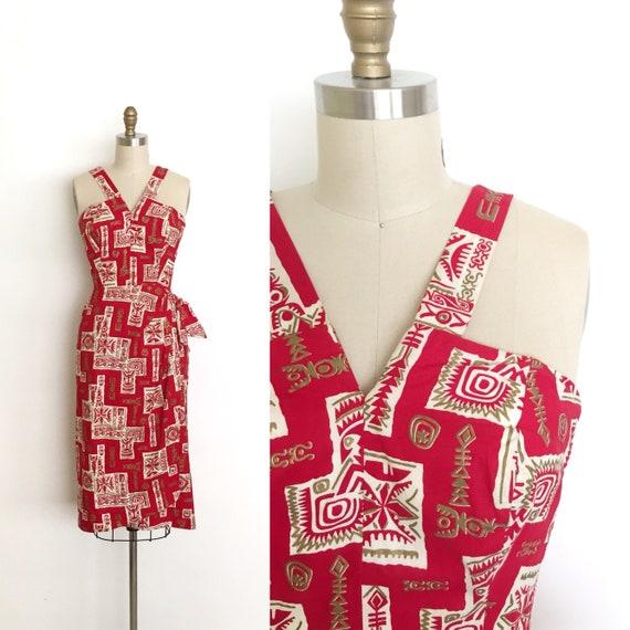Jahrgang 1950 Kleid 50er Jahre Hawaiian Sarong Kleid