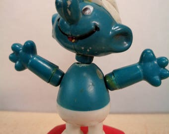 Vintage 70s,SMURF,Peyo,Push Up,Dancing Thumb Puppet, Plastic Toy,Helm,Wallace Berrie & Co,Hong Kong