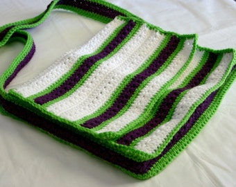 Courier bag green purple white with strap crochet bright orchid pack carry notebook messenger pouch