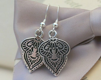Mehndi Leaf Antiqued Silver earrings - Pewter with Sterling earwires