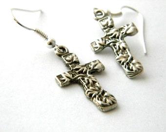 Silver Cross Earrings with Ivy Pattern Dangle Earrings Silver Color
