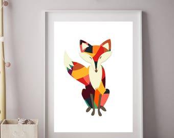 Fox Print, Woodland Animals, Fox Art, Woodland Print, Geometric, Boys Wall Prints, Boys Wall Art, Boys Bedroom Decor