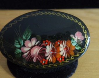 Handpainted Lacqered Russian Brooch