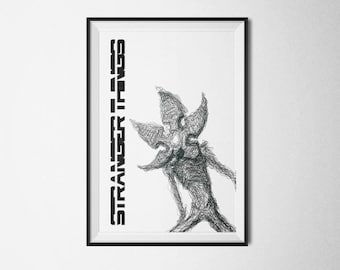 Stranger Things Poster - The Demogorgon - Netflix - Ink Drawing Typography - Inspirational Art Print
