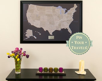 Personalized executive world travel map with pins and frame personalized earth toned us push pin travel map with pins and frame 24x36 gumiabroncs Image collections
