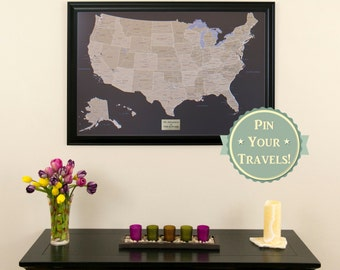 Personalized executive world travel map with pins and frame personalized earth toned us push pin travel map with pins and frame 24x36 push pin travel map personalized gift idea inspire wanderlust gumiabroncs Choice Image