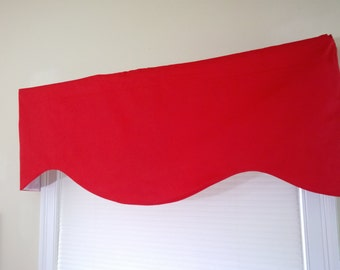 Solid Red scalloped Valance, lined cotton valance Red.  All solid color and more shapes.  50 x16 valance