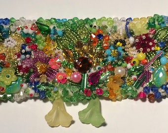 """"""""""" Cuff bracelet embroidered with beads """""""" Spring """""""""""