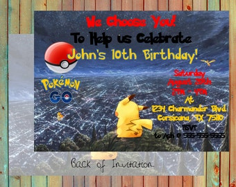 Pokemon Go Inspired Personalized Party Invitation (Printed)