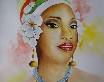 Tableau figurative original watercolor, wall decor in 30, 5 x 45, 5cm, black woman