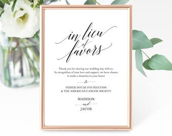 In Lieu of Favors Sign Template, Printable In Lieu of Favors Sign, Editable In Lieu of Favors Sign, PDF Instant Download, MM07-1B