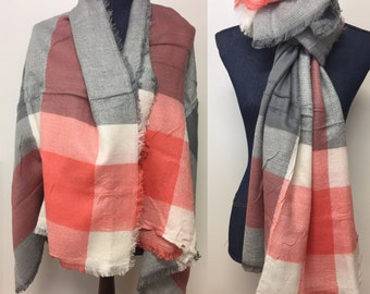 Blanket Scarf Plaid/ plaid blanket scarf/ blanket scarves/ blanket scarf / oversized scarf/ gift for her/ best friend gift/ gift for wife