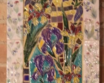 Vertical Iris Hand painted Mosaic Iris Mirror
