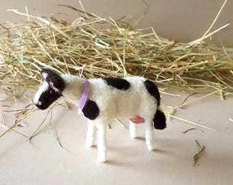 Needle felted cow ornament, black and white cow, Christmas farm decor, cow lovers gift, wool felt animals
