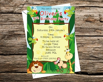 Personalised Kids Birthday Party Invitations Jungle Themed, Invites
