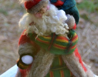 Scottish Highland Father Christmas Needle Felted Santa Claus Ready to ship
