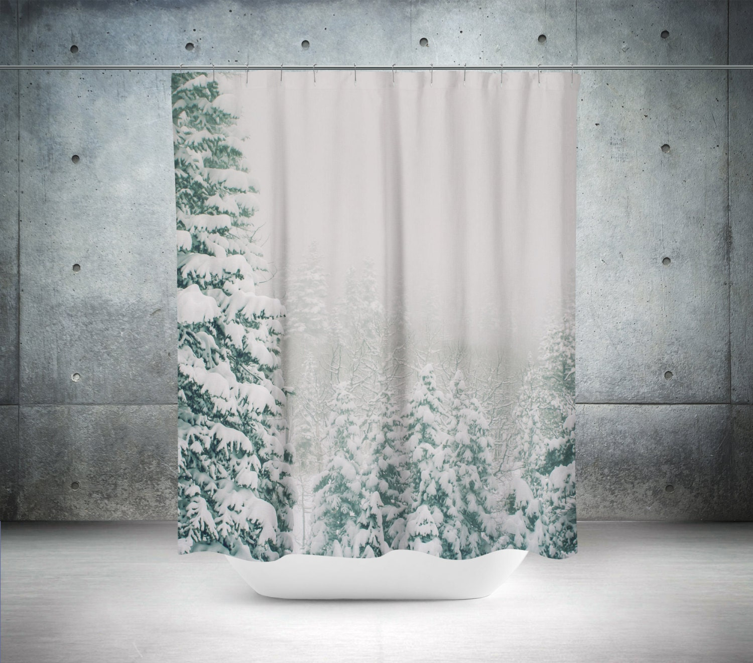 Snowy Forest Shower Curtain Nature Decor White Bathroom