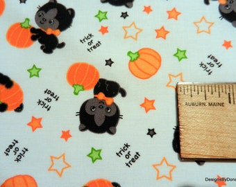 One Half Yard Cut Quilt Fabric, Black Halloween Kittens, Pumpkins, Stars and Trick or Treat, on White, Quilting-Sewing-Craft Supplies