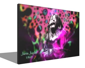 Janis Joplin 1969 100% Cotton Canvas Print Using UV Archival Inks Stretched & Mounted
