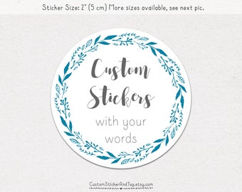 30 custom stickers with leaves border, personalized stickers with your text, circle stickers, wedding stickers, product stickers (S-157)