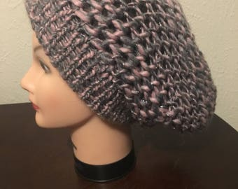 Women's grey and pink slouchy beanie