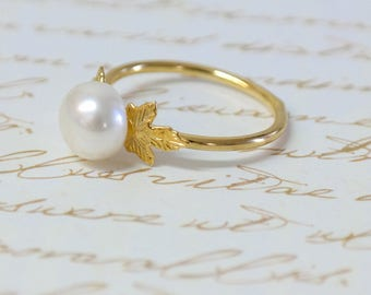 Pearl Engagement Ring, Gold Pearl Ring, Pearl Bridesmaid Jewelry, Stacking Rings, Greek Ring, Pearl Wedding Ring, Unique Engagement Ring