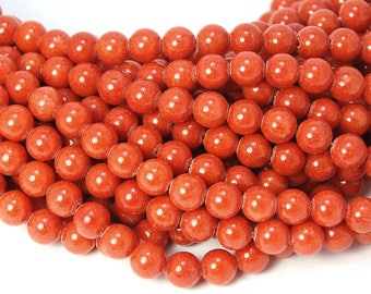 8mm Burnt Orange Mountain Jade Round Gemstone Beads - 15 Inch Strand