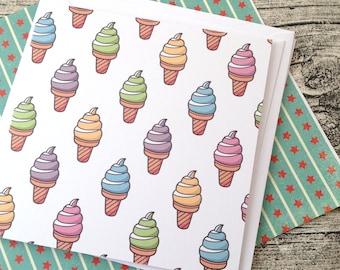 Ice cream kawaii. Kawaii greeting cards, Ice cream, Birthday card, Cute snail mail, Pen pal card, Happy mail stationery, Ice cream card