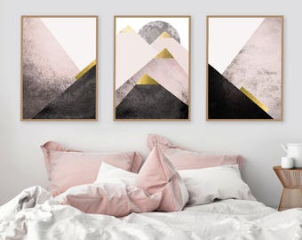 Instant Downloadable Set Of 3 Printable Art Prints Of Mountains In Blush Pink  Black Gold Scandinavian