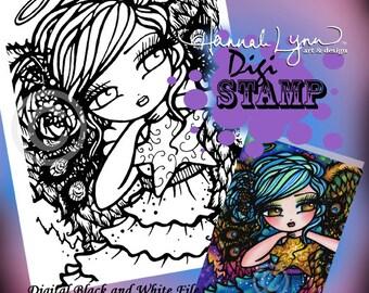 PRINTABLE Digi Stamp Star of Wonder Coloring Page Fun Fantasy Art Hannah Lynn