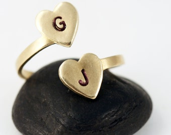 Personalized Initial Ring - Gold Two Heart Initial Statement Ring