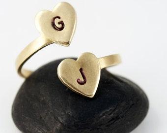 Personalisierte erste Ring - Gold zwei Herzen erste Aussagering
