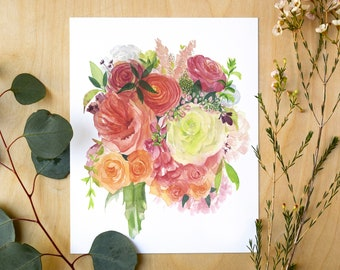Spring Blossoms Bouquet | Watercolor Giclee Art Print