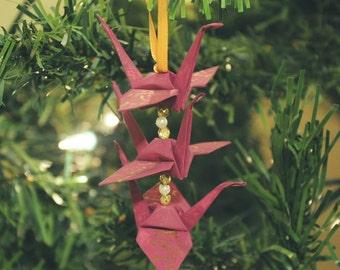 Mulberry Plum Origami Crane Trio Christmas Tree Ornament -- Gold Japanese Love Kanji Holiday Decoration