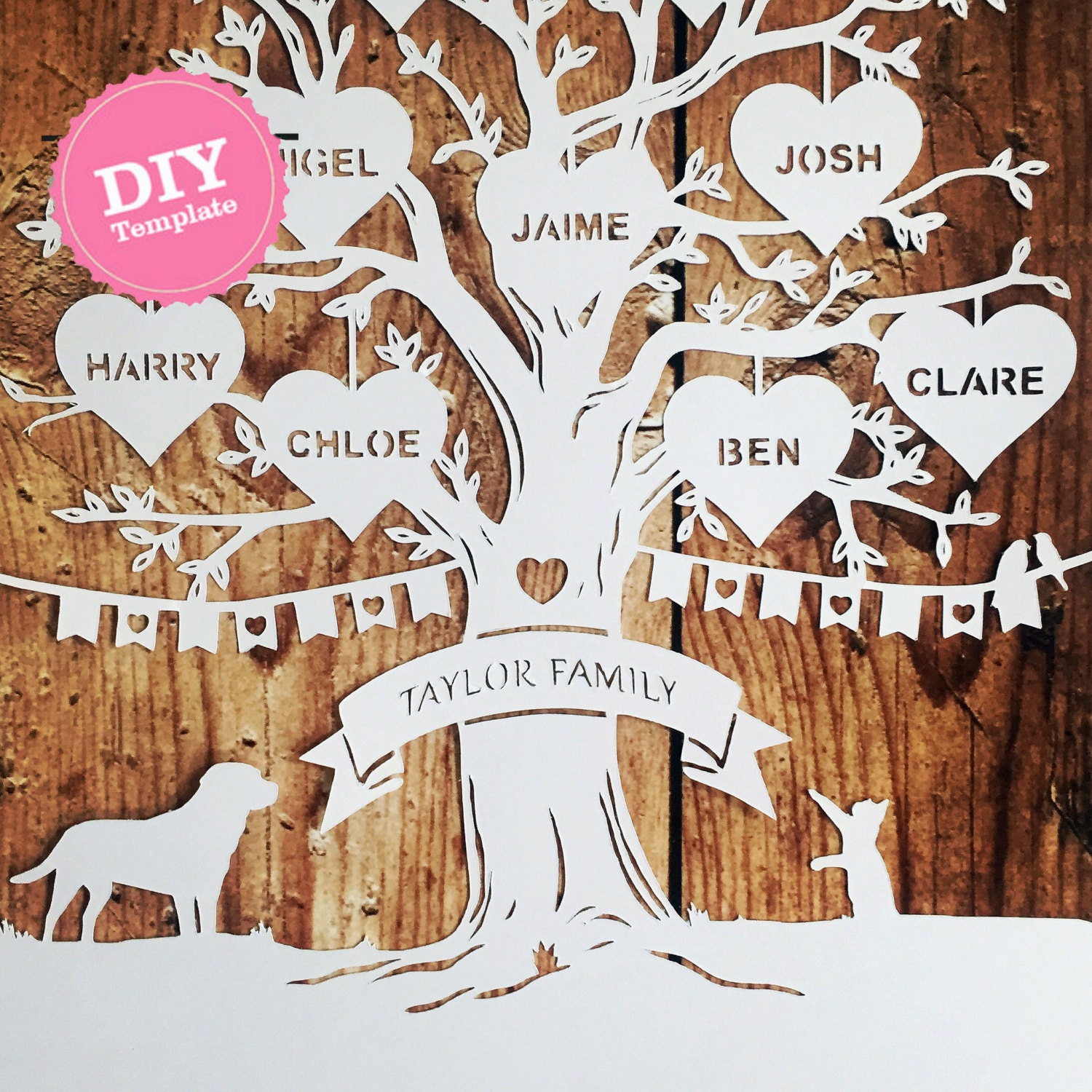 Diy family tree papercutting template papercut your own zoom solutioingenieria Image collections