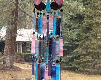 Stained glass Fluer garden chime