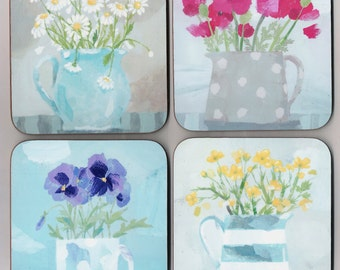 Floral Coasters - set of four