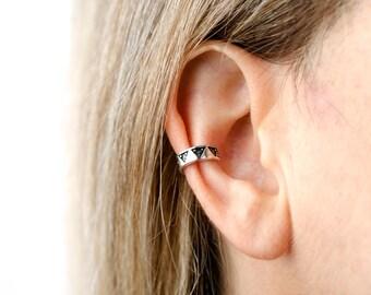 Sterling Silver Ear Cuff Earring Aztec Triangle Dots Piramyds Ear Wrap Earrings Boho Jewelry - ECU002