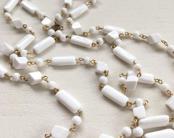 Vintage Extra Long Milkglass Classic Bead Necklace