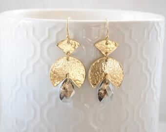 Golden Earrings - Statement Earrings - Statement Jewelry - Boho Earrings - Gypsy Earrings - Aztec Earrings - Tribal Earrings - Maya Earrings