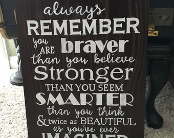 "Reclaimed Wood ""Always Remember"" Sign"