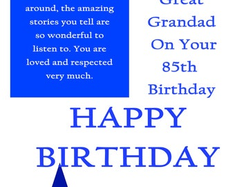 Great Grandad 85 Birthday Card with remvable laminate