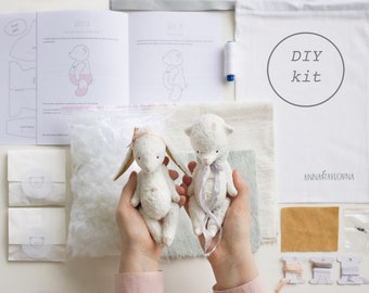 2-in-1 Stuffed Animals Teddy Bear And Bunny Rabbit 6 Inches DIY Kit Mohair Toys Sewing Kit Soft Toys Craft Kit Crafter Gift Ready To Ship