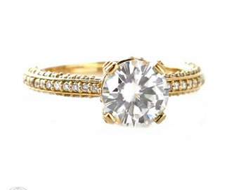14K Moissanite Engagement Ring Pave Diamond Solitaire Custom Moissanite Ring White Yellow Rose Gold Platinum Palladium Bridal Jewelry