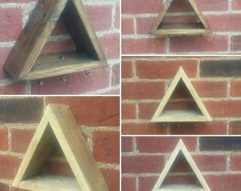 HandMade Reclaimed Wood And Iron Geometric Key Shelf