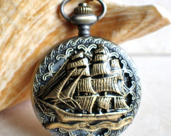 Nautical pocket watch, men's mechanical  pocket watch, nautical theme,  front case is mounted with sailing ship