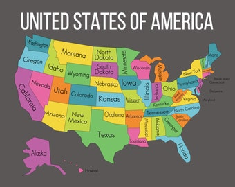 Map of the United States, Instant Download Map, USA Map with State Names, USA Map Digital, United States Map Classroom Resource